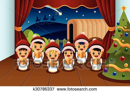 Weihnachtslieder Zum Singen.Kinder Singen Weihnachtslieder Clip Art