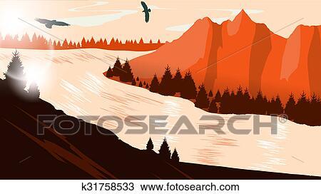 Mountain View Landscape Drawing K31758533 Fotosearch