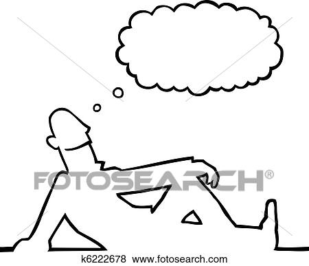 Black Line Art Illustration Of A Person Daydreaming