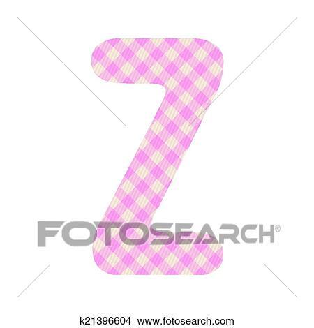 Pink squares pattern alphabet Z Clipart