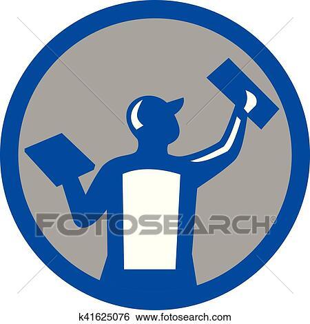 clip art of plasterer masonry trowel circle retro k41625076 search rh fotosearch com masonic clipart black and white masonic clipart symbols to download