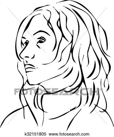 Clipart Simple Ligne Illustrations De A Visage Femme Profil