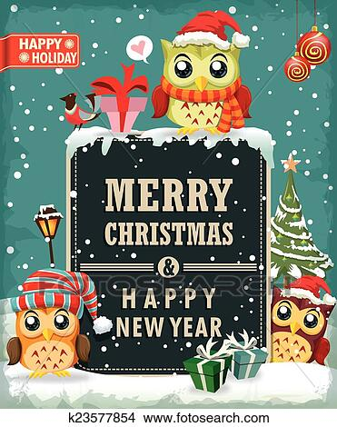 clipart vintage christmas poster design owl fotosearch search clip art illustration murals
