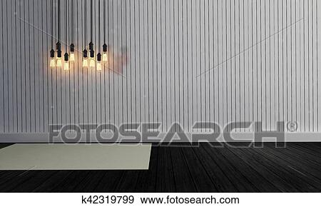 stock illustration of white simple wall with lamp hanging on ceiling