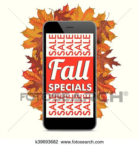 Clipart Of Black Smartphone Autumn Fall Specials K39693682