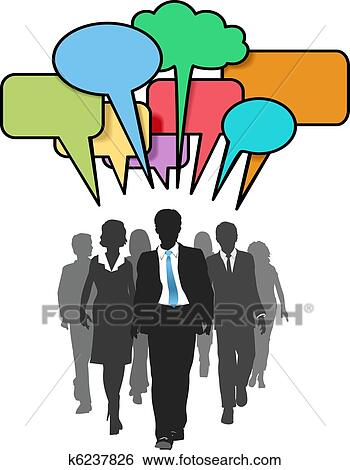 clip art of business social people walk talk color bubbles k6237826 rh fotosearch com clipart talk bubble clipart talk bubble