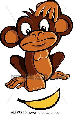 Cartone animato scimmia con banana clipart k6237390 fotosearch