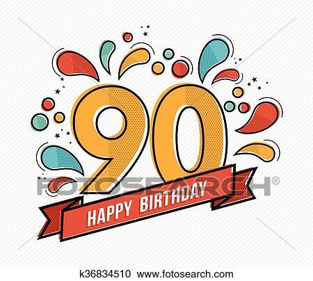 Colorido Feliz Cumpleaños Número 90 Línea Plana Diseño