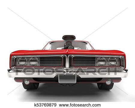 Stock Illustration Of Crimson Red American Vintage Muscle Car