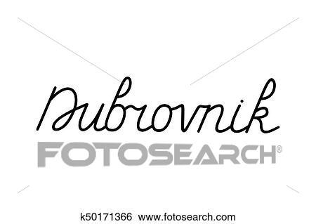 Hand Lettering Of Dubrovnik City Croatia