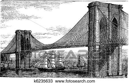 Illustration of Brooklyn Bridge and East River, New York ...