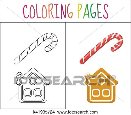 Clipart - libro colorear, page., navidad, azucare caña, y, pan de ...