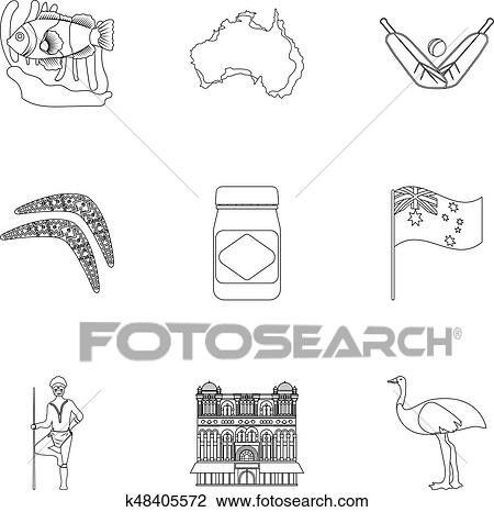 Clipart Of National Symbols Of Australia Web Icon On Australia