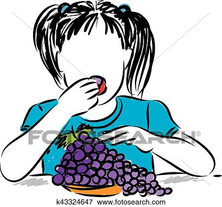 clip art of pretty little girl eating grapes illustration k43324647 rh fotosearch com pretty baby girl clipart pretty little girl clipart