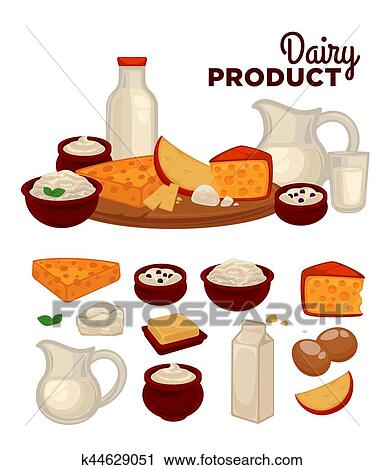 clipart of set of healthy dairy products k44629051 search clip art rh fotosearch com dairy clipart black and white dairy clipart drawing