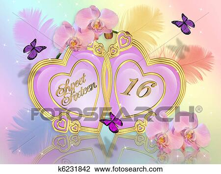 Clip Art Of Sweet 16 Invitation Card K6231842 Search Clipart