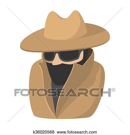 Uomo in nero occhiali da sole e marrone cappello cartone