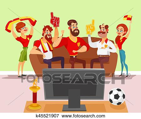 clip art of vector cartoon illustration of a group of friends rh fotosearch com Football SVG Football Clip Art Black and White