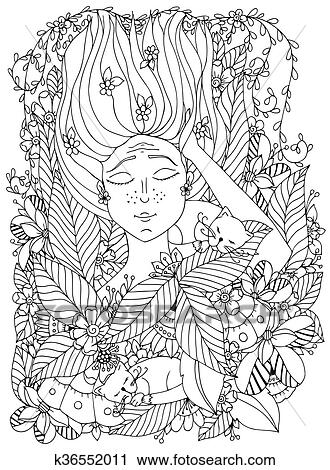 Vector Illustration Zentangl Girl Child With Freckles Is Sleeping Cats In The Flowers Doodle Drawing Bloom Forest Garden Coloring Book Anti Stress