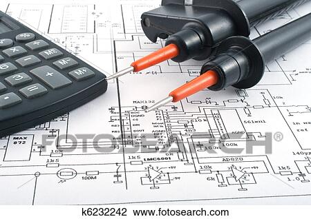 stock photo of voltage tester calculator and electrical diagram rh fotosearch com  electrical motor winding diagram calculator