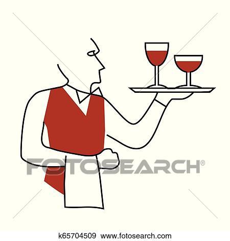 Waiter Serving Wine Cartoon Clip Art K65704509 Fotosearch