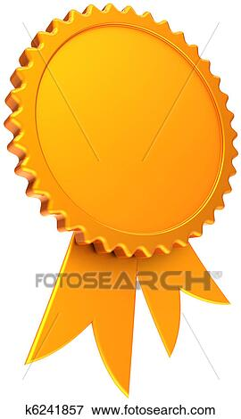 Picture of blank golden award ribbon template k6241857 search award ribbon blank total golden shiny winner medal icon with copy space luxury certificate design element template maxwellsz