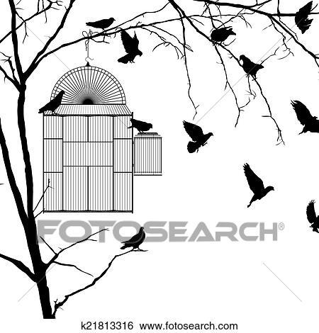 Cage oiseau silhouettes clipart k21813316 fotosearch - Dessin oiseau en cage ...
