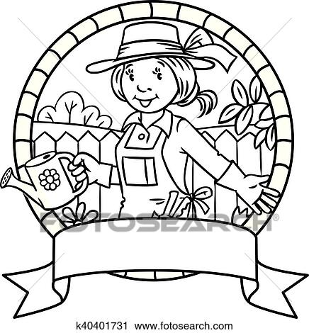 Coloring book of funny woman gardener. Emblem. Clipart