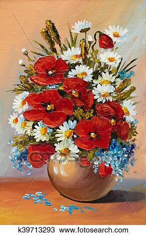 Disegno dipinto olio di fiori primaverili in uno for Fiori dipinti a olio