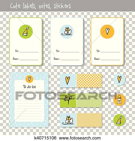 Christmas List Organizer.Gift Cards Note Paper Notes To Do List Organizer Planner Marks Stickers Hand Drawn Elements New Year Christmas Theme Clip Art