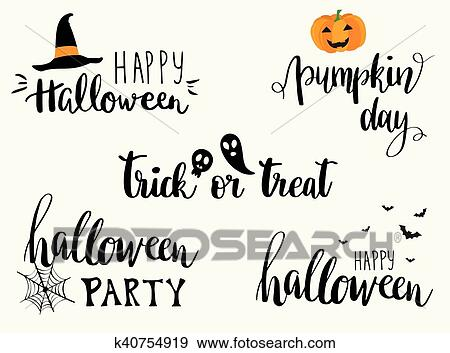 Happy Halloween Greeting Cards Lettering Set Clip Art K40754919 Fotosearch