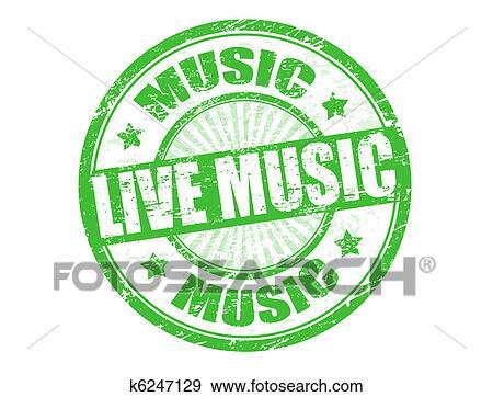 Clip Art Of Live Music Stamp K6247129