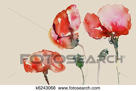 Stock Illustration Malen Mohnblumen K6243068 Suche Clip Art