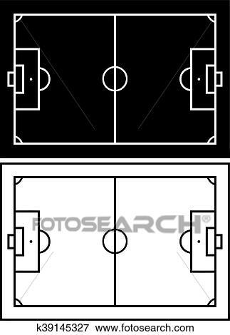 Schwarz Weiss Fussball Feld Clip Art K39145327 Fotosearch