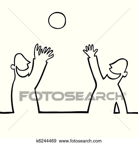 clip art of two people throwing a ball at each other k6244469