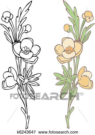 clip art of wildflower k6243647 search clipart illustration rh fotosearch com wildflower clipart png wildflower clipart free