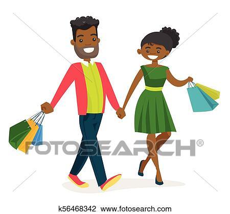 Pretty black, African American woman, ...   Stock vector   Colourbox