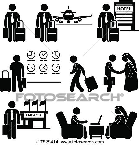 A Set Of Human Pictogram Representing Businessman Travel To Foreign Country For Business Meeting