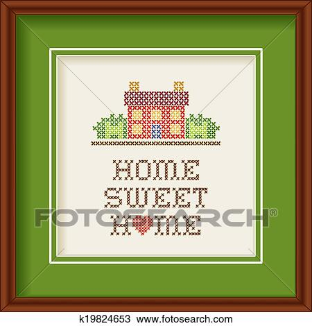Clipart Of Embroidery Home Sweet Home Frame K19824653 Search Clip