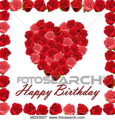 arquivos de ilustração feliz aniversário com coração de rosas
