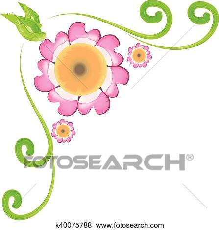 Clip Art Fiori Angolo Cornice Disegno K40075788 Cerca Clipart