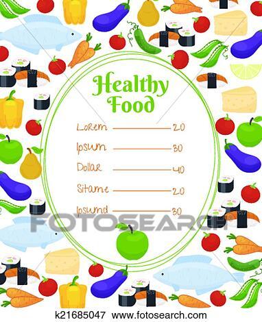 Clip Art - gesundes essen, menüschablone k21685047 - Suche Clipart ...
