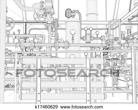 Clip Art of Industrial equipment. Wire-frame render k17460629 ...