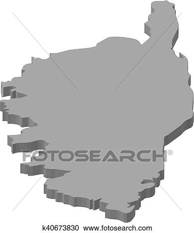 Clipart Of Map Corsica France 3d Illustration K40673830