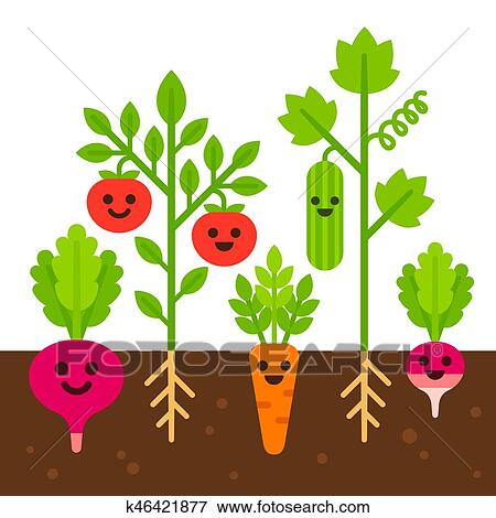 Mignon potager illustration clipart k46421877 fotosearch - Dessin de potager ...
