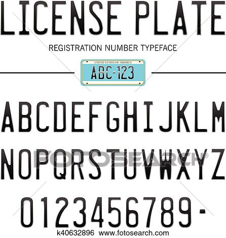 Moderno Targa Font Per Iscrizione Numeri Con Campione