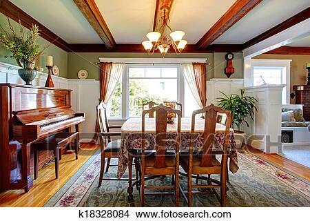 Stock Foto   Offenes, Wandgestaltung, Esszimmer, Mit, Klavier. Fotosearch    Suche