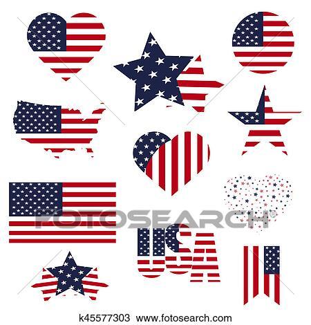 Símbolos Estados Unidos Encuadrado En Diferente Formas De El Bandera Plano De Fondo Dibujo