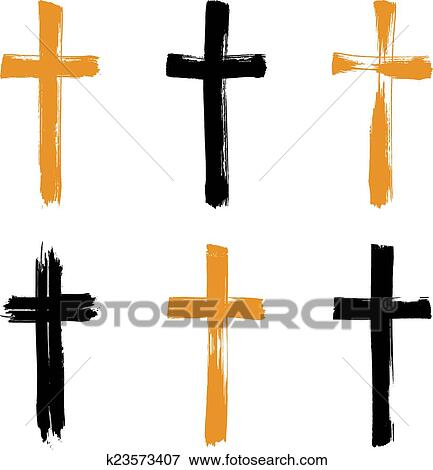 Set Of Hand Drawn Black And Yellow Grunge Cross Icons Collectio Clip Art