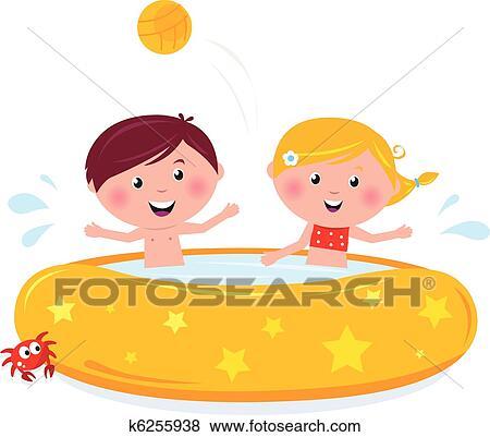 Clipart sourire heureux gosses dans piscine t - Clipart piscine ...